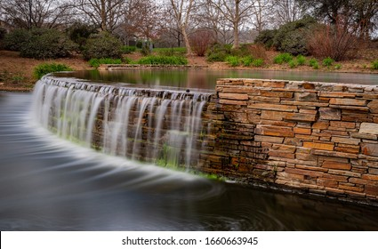 Long exposure of a park fountain waterfall