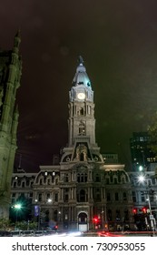 Long Exposure of Philadelphia Pennsylvania City Hall at Night with Traffic Turning onto Broad Street