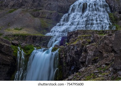 Long exposure photo of beautiful Dynjandi waterfall in West fjords of Iceland.