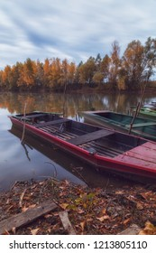 Long exposure photo of boats on Tisza river in Hungary