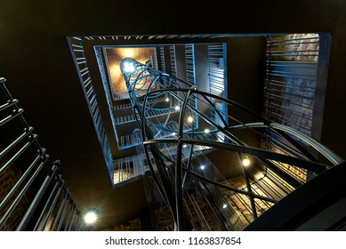 Long exposure photo of the extremely modern elevator inside of the Astronomical Clock Tower in Prague, Czech republic, located at the Old towns square in front of the famous Church of our lady before