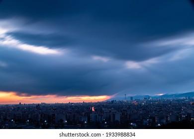 long exposure photo of Tehran skyline at sunset
