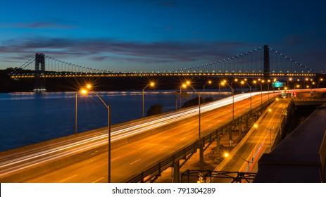 Long exposure photo of Washington Bridge, Manhattan New York