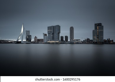 """Long exposure photo from the """" Wilhelminapier"""" in Rotterdam, the Netherlands early morning."""