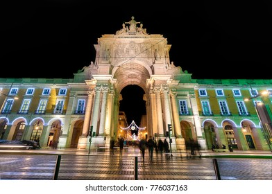 Long exposure photografy of Rua Augusta Arch from Commerce square at christmas, Lisbon. Portugal