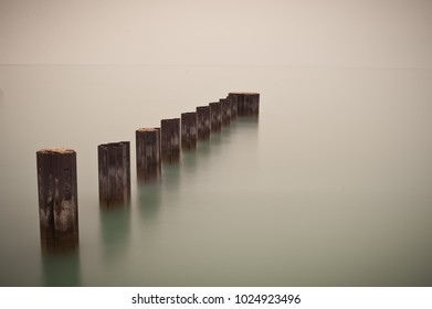 Long exposure photograph of breakwater structures in Lake Michigan Chicago, Illinois.