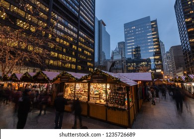 Long exposure photograph of the Chicago Christkindl Holiday Market. Vendors from around the world sell holiday themed products.