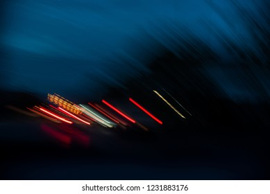 Long exposure photograph of moving lights.Abstract light effect on a black background.