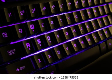 Long Exposure photograph of an RGB Back lit Keyboard.