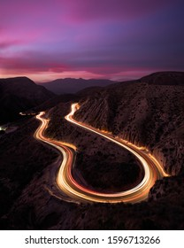 Long exposure photography of light trails and sunset at Grimes Canyon.