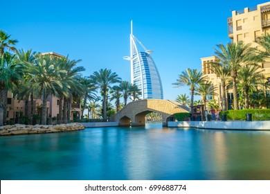 Long exposure picture of the bridge at Dubai's old town souk