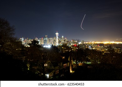 Long Exposure picture of Downtown Seattle, Washington, USA, during the night. Picture taken from Kerry Park.