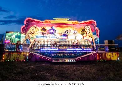 Long exposure pictures of amusement park