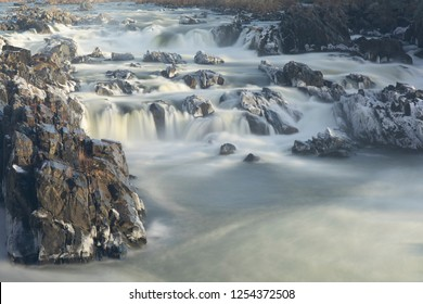 long exposure of potomac river cascading in great falls park