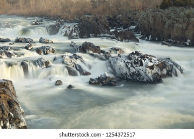 long exposure of potomac river detail in great falls park