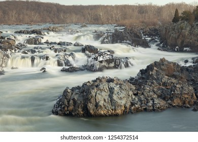 long exposure of potomac river landscape in great falls park