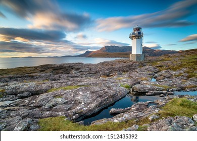 A long exposure of Rhue lighthouse just ouside Ullapool and a landmark on the North Coast 500 tourist route