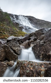 Long exposure rocks river water waterfall Norway