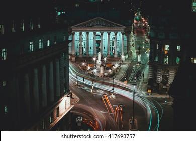 Long Exposure - Royal Stock Exchange - London -  Light Trails - City of London
