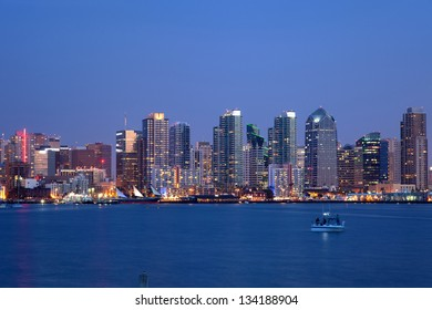 A long exposure of the San Diego skyline at dusk