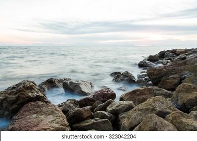long exposure of sea and rocks,