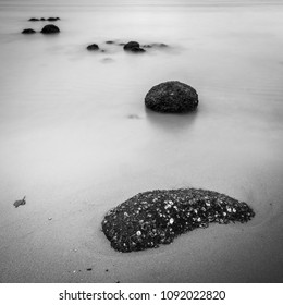 Long Exposure of Sea Rocks at Punggol Beach, Singapore