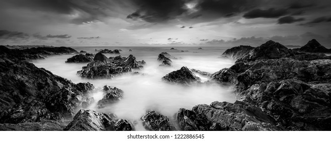 Long exposure seascape in black and white. panoramic photography .