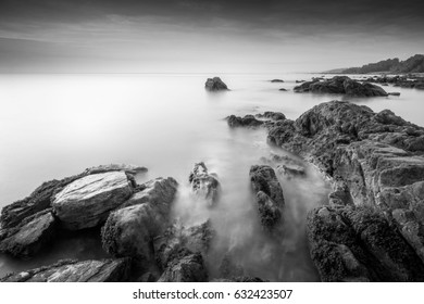 Long exposure seascape in black and white