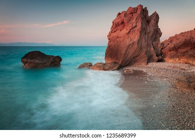 Long exposure of seascape with cliffs. Rhodes, Greece.