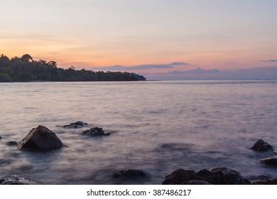 Long exposure of seascape at dusk twilight