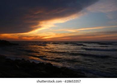 A long exposure shoot of the sunset in Haifa Bat Galim, Israel