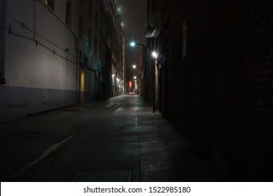 Long exposure shot of an alley way