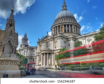 Long exposure shot of bus passing St Paul's Cathedral, London, England, United Kingdom
