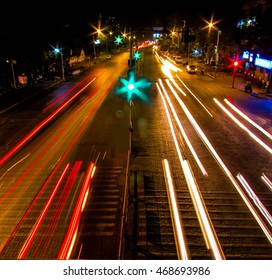 long exposure shot of city traffic