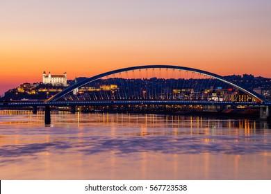 Long exposure shot with Danube river