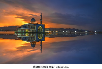 Long Exposure shot of Floating Mosque located at Penang Port, Butterworth, Penang, Malaysia. Soft Focus, Motion blur due to long exposure shot. vibrant colors. Copy Space Area