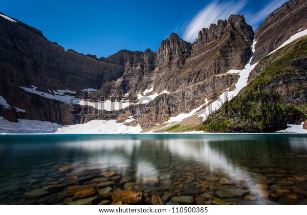 Long exposure shot of iceberg lake, Glacier national park, montana