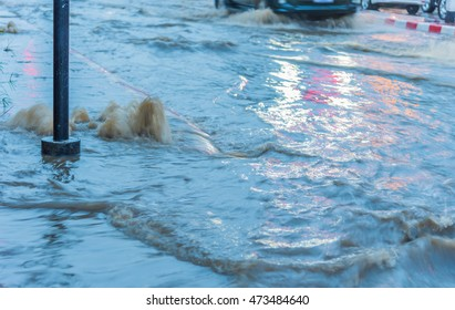 long exposure shot image of water flooding on street after heavy rain.