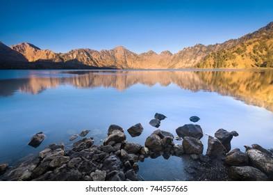 Long Exposure shot of Mountain lake, Mount Rinjani's caldera, Lombok, Indonesia