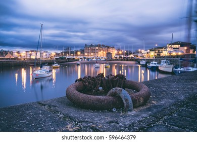 Long exposure shot of Musselburgh's Fisherrow Harbour, near Edinburgh. Scotland, United Kingdom