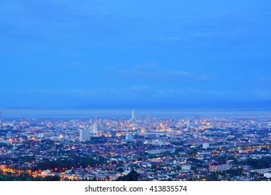 Long Exposure Shot of night scene Hat Yai downtown,Songkla Thailand:Soft Focus and Motion Blur Due To Long Exposure Shot.