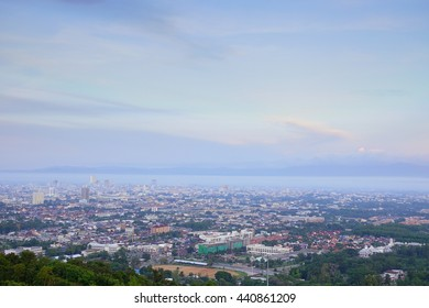 Long Exposure Shot on 06.20 am 22 June 2016 morning time scene Hat Yai downtown,Songkla Thailand:Soft Focus and Motion Blur Due To Long Exposure Shot.