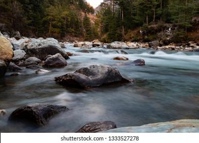 Long Exposure Shot Of Parvati River In Kasol On The Way To Rasol