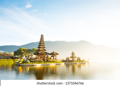 Long exposure shot of Pura Ulun Danu Beratan temple at sunrise in Bali, Indonesia