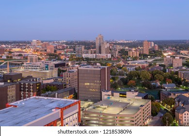 A Long Exposure Shot of the Riverside and University of Minnesota Neighborhoods and Distant St. Paul Skyline during Blue Hour