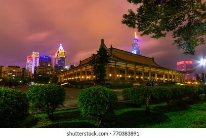 Long exposure shot, Sun Yat-Sen Memorial Hall in Taipei City, Taiwan.