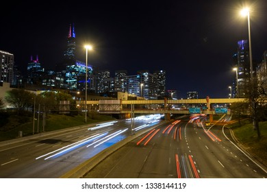 Long exposure shot of the traffic on one of Chicago's interstates.