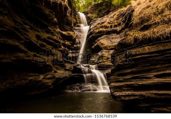 Long exposure shot of Yermai Falls in foothills of Western Ghats near Belthangady, Karnataka, India.