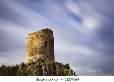 Long exposure of a sixteenth century watch tower at Isola Delle Femmine in Sicily.