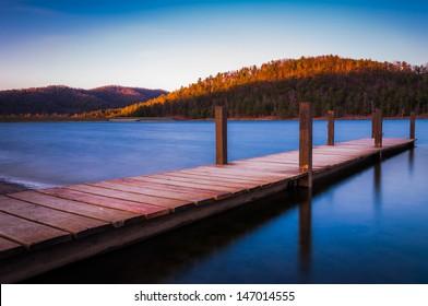 Long exposure of a small dock on Lake Arrowhead, near Shenandoah National Park in Luray, Virginia